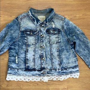 BKE Light Blue Jean Jacket With Laces Rhinestones